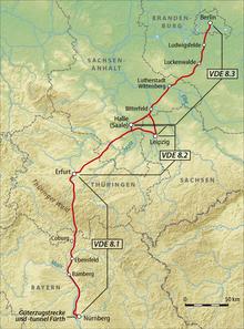 karte der ice-neubaustrecke berlin-nürnberg Verkehrsprojekt Deutsche Einheit Nr. 8 – Wikipedia