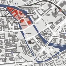 Расположение Городского дворца на карте Берлина (по состоянию на 1930 год) .