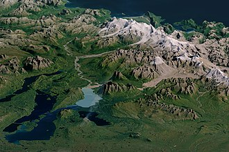 Katmai National Park and Preserve - Image of the park with Landsat data overlaid on a digital elevation model (created with data from the ASTER instrument on NASA's Terra satellite). The model gives a three-dimensional sense of the landscape.