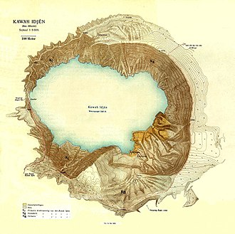 Ijen - Map of Ijen Crater, where sulfur is mined
