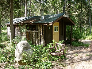 Augustus Kenderdine - The first cabin Gus Kenderdine built on the Emma Lake site