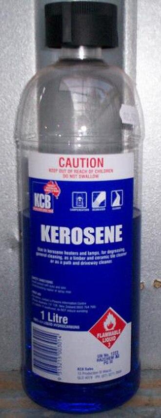 Kerosene - An Australian kerosene bottle, containing blue-dyed kerosene