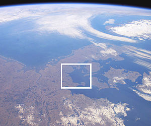 Bay of Kiel - Satellite photo highlighting the Bay of Kiel. Germany is in the lower left half and Denmark in the center