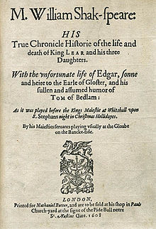 Title page of a 1608 edition of William Shakespeare's King Lear