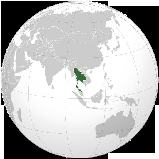 Kingdom of Thailand World War II orthographic map