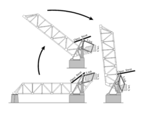Drawing of the Kinzie Sreet bridge showing three stages of the opening the bridge