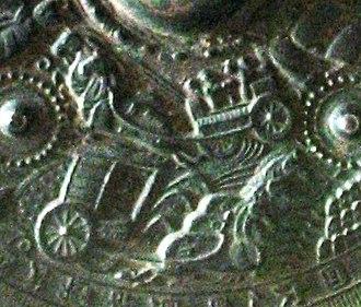 Horses in East Asian warfare - Horse chariot -- Detail of a bronze mirror c. 5th-6th century excavated Eta-Funayama Tumulus in Japan.