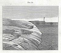 Dibujo de la fortaleza de Skanslandet en Sveaborg, Helsingfors, hecho por Kropotkin como parte de su investigación en Finlandia.