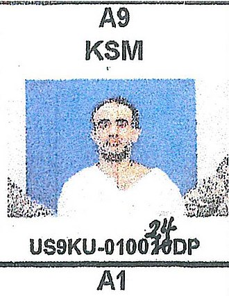 Khalid Sheikh Mohammed - Mugshot of Khalid Sheikh Mohammed shortly after being transferred to the Guantanamo Bay detention camp in September 2006. The photo was taken from a cell-assignment chart at the covert high-security Camp 7, and was obtained by reporters of MClatchyDC.
