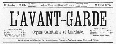 Titular de L'Avant Garde del 15 de julio de 1878