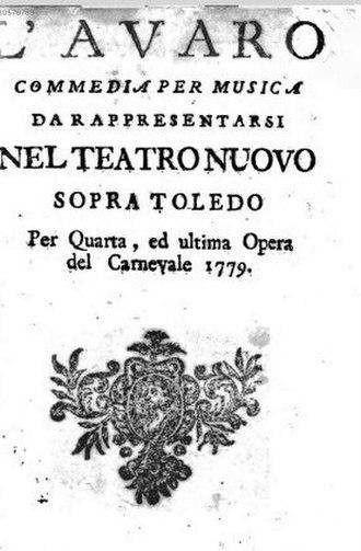 L'avaro (Anfossi) - Cover of the libretto printed in 1779 for a performance at the Teatro Nuovo sopra Toledo in Naples