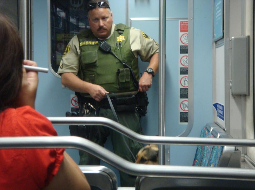 LASD on MTA train