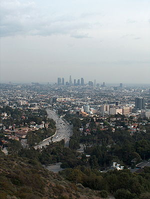 Mulholland Drive - View of Hollywood and Downtown Los Angeles from Mulholland Drive near its eastern terminus