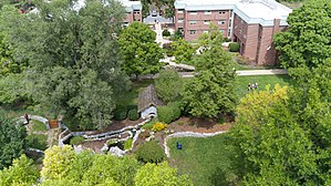 Lebanon Valley College - An aerial view of LVC's Peace Garden, taken by Blue Fuego. The Peace Garden is in the middle of the College's Residential Quad and is a popular place to study, relax, or take milestone photographs, especially weddings.