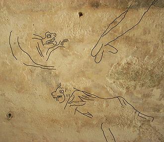 Ancient Maya graffiti - Zoomorphic graffiti at La Blanca, Petén. Incised lines overwritten in black for clarity.