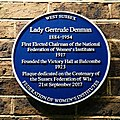 Lady Gertrude Denman plaque at Victory Hall, Balcombe, West Sussex, England.jpg