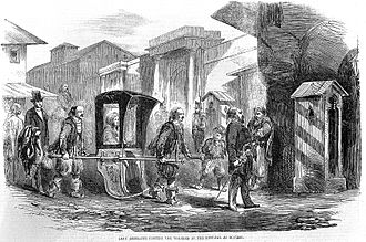 Üsküdar - An illustration of the Second Lady Redcliffe, wife to British Ambassador Stratford Canning, 1st Viscount Stratford de Redcliffe,  visiting a hospital in Üsküdar, which at the time was known as Scutari during the mid 19th century.