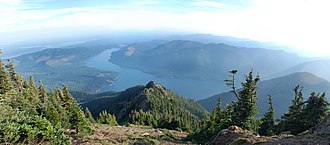 Lake Cushman - Panoramic image of Lake Cushman, 5000 feet below, as viewed from the summit of Mount Ellinor on a summer afternoon.