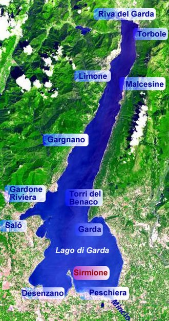 Sirmione - Map showing position of Sirmione on Lake Garda.