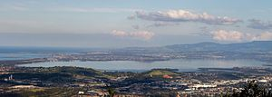 Lake Illawarra - Lake Illawarra, viewed from Sublime Point lookout, 2015.