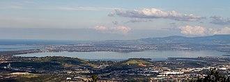 Lake Illawarra - Lake Illawarra, viewed from Sublime Point lookout, 2015.