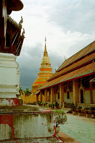 Lamphun Province - The viharn and golden chedi of Wat Phra That Hariphunchai