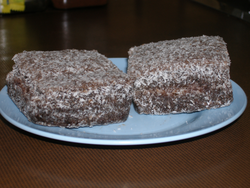 Two traditional lamingtons