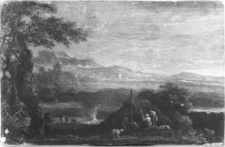 Landscape with Figures before a Cottage