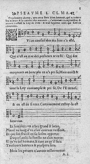 Exclusive psalmody - Psalm 1 from the 1562 edition of the Genevan Psalter