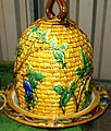 Late 20th century Repro Majolica Beehive cheese keep in imitation of Mintons iconic cheese keep.jpg