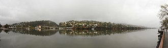 Launceston, Tasmania - Panorama of the confluence of the Tamar River and its tributaries; the South Esk River and the North Esk River