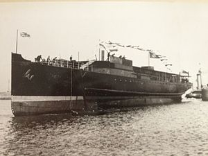 TSS Manx Maid (1910) - Caesarea is launched at Birkenhead, Wednesday 14 September 1910.