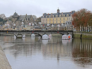 Laval, Mayenne - The Mayenne river in the town centre.