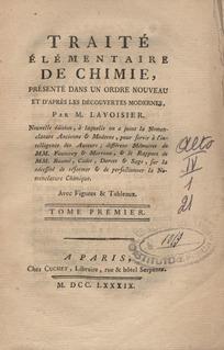 <i>Traité Élémentaire de Chimie</i> book by Antoine Lavoisier