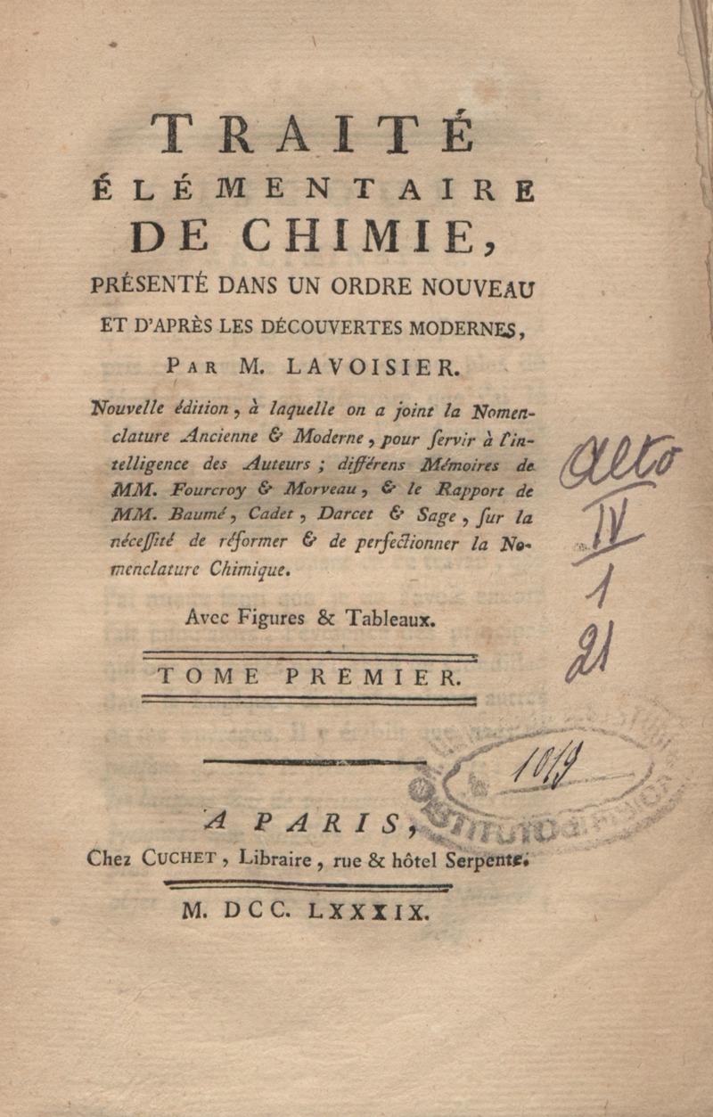 Portada del Traité élémentaire de chimie (Tratado elemental de química), de Antoine de Lavoisier.