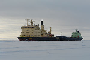 Taymyr (1987 icebreaker) - Taymyr escorting product tanker ''Indiga'' near the port of Dudinka.