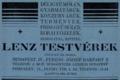 Lenz Testvérek hirdetése Az Est hármaskönyvében (1926).PNG