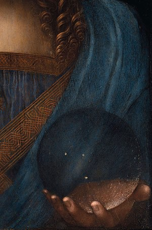 Salvator Mundi (Leonardo) - Detail of the left hand and crystal orb