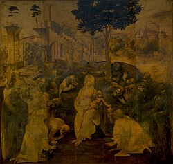 An unfinished painting showing the Virgin Mary and Christ Child surrounded by many figures who are all crowding to look at the baby. Behind the figures are a distant landscape and a large ruined building. More people are coming, in the distance