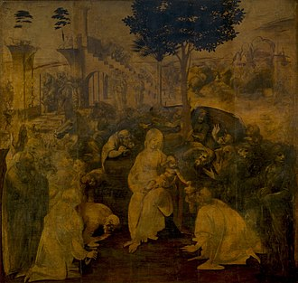 Leonardo da Vinci - The Adoration of the Magi (1481), Uffizi