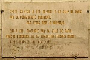 Île aux Cygnes - Image: Liberty grenelle inscription