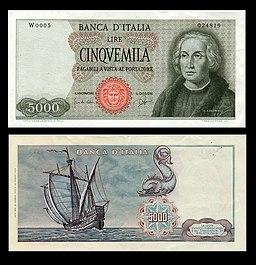 Lire 5000 (Cristoforo Colombo, 1° tipo)