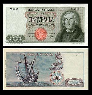 92e582f68f La prima versione della banconota da 5 000 lire con Cristoforo Colombo (una  sola caravella), emessa dal 1964 al 1971