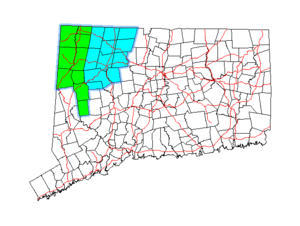 Litchfield Hills - Map of Connecticut showing the Northwest Connecticut region in green and the Litchfield Hills region in blue