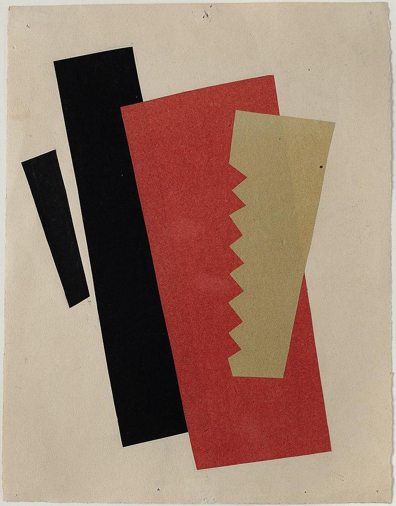Composition Rouge-noir-or (1920) oeuvre de Liubov Sergeievna Popova au Musée Berardo à Lisbonne.