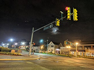 Livingston, New Jersey - The intersection of Livingston Ave and Route 10 by night.