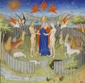 Livre des propriétés des choses - Fitzwilliam Museum Ms251 f15r (Dieu présentant Eve à Adam).png