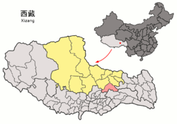 Location of Lhari County (red) within Nagqu City (yellow) and the Tibet Autonomous Region