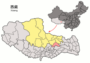 Location of Lhari within Xizang (China).png