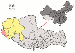 Location of Zanda County within Tibet